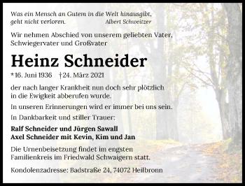 Traueranzeige von Heinz Schneider von GESAMT