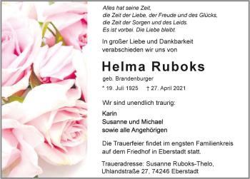 Traueranzeige von Helma Ruboks von GESAMT