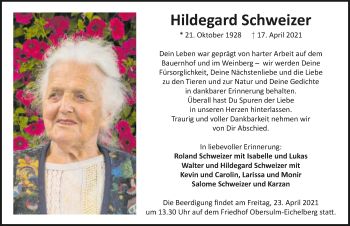 Traueranzeige von Hilde Schweizer von GESAMT