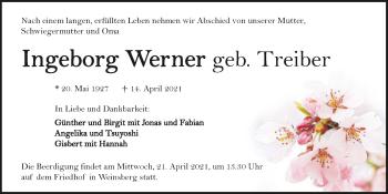 Traueranzeige von Ingeborg Werner von GESAMT