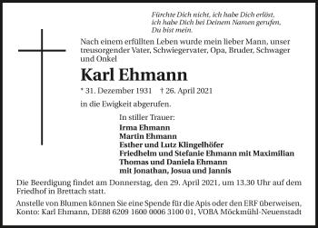 Traueranzeige von Karl Ehmann von GESAMT