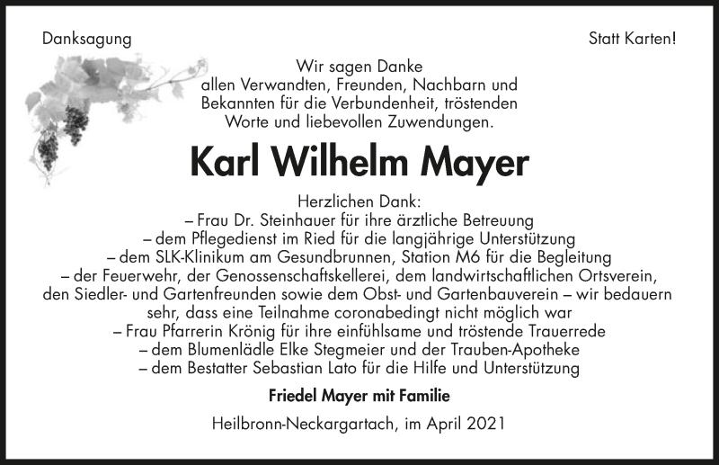 Traueranzeige für Karl Wilhelm Mayer vom 10.04.2021 aus GESAMT
