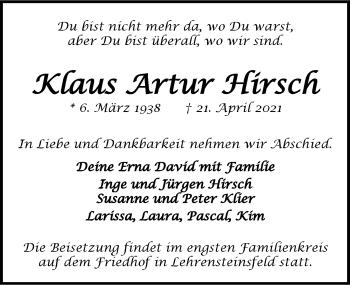 Traueranzeige von Klaus Hirsch von GESAMT