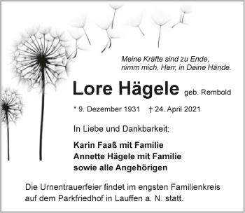 Traueranzeige von Lore Hägele von GESAMT