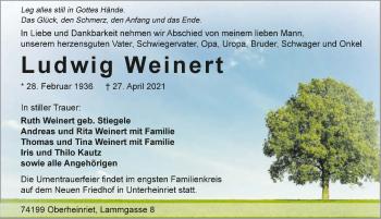 Traueranzeige von Ludwig Weinert von GESAMT