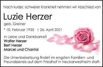 Traueranzeige von Luzie Herzer von GESAMT