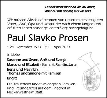 Traueranzeige von Paul Slavko Prosen von GESAMT