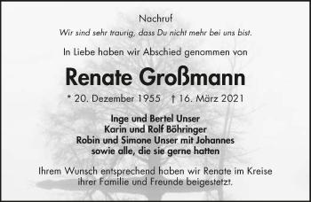 Traueranzeige von Renate Großmann von GESAMT