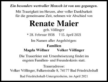 Traueranzeige von Renate Maier von GESAMT