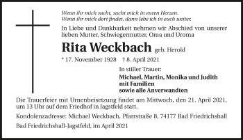 Traueranzeige von Rita Weckbach von GESAMT