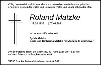 Traueranzeige von Roland Matzke von GESAMT
