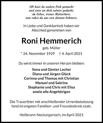 Traueranzeige von Roni Hemmerich von GESAMT