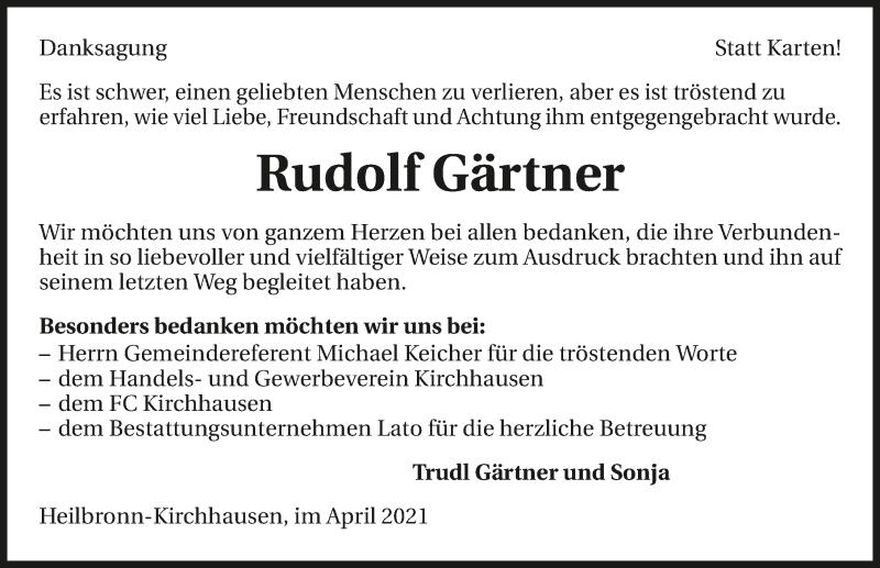 Traueranzeige für Rudolf Gärtner vom 21.04.2021 aus GESAMT