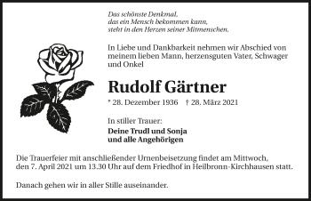 Traueranzeige von Rudolf Gärtner von GESAMT