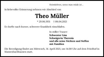Traueranzeige von Theo Müller von GESAMT