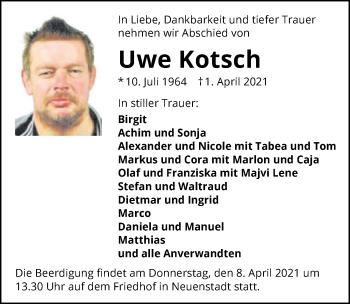 Traueranzeige von Uwe Kotsch von GESAMT