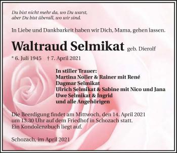 Traueranzeige von Waltraud Selmikat von GESAMT
