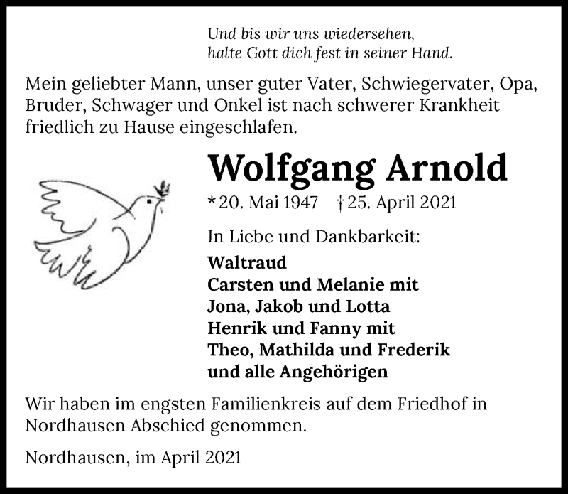 Traueranzeige für Wolfgang Arnold vom 30.04.2021 aus GESAMT