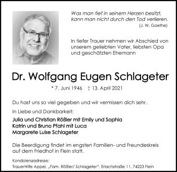 Traueranzeige von Wolfgang Eugen Schlageter von GESAMT