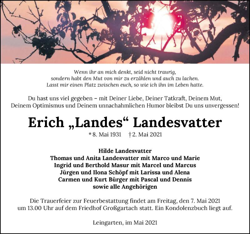 Traueranzeige für Erich Landesvatter vom 05.05.2021 aus GESAMT