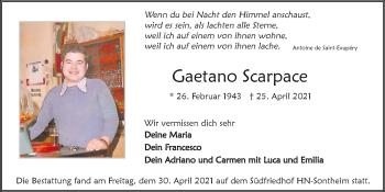 Traueranzeige von Gaetano Scarpace von GESAMT
