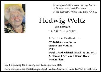 Traueranzeige von Hedwig Weltz von GESAMT