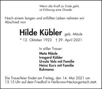 Traueranzeige von Hilde Kübler von GESAMT