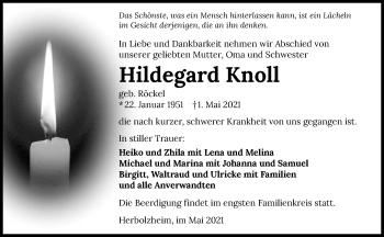 Traueranzeige von Hildegard Knoll von GESAMT
