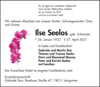 Traueranzeige von Ilse Seelos von GESAMT