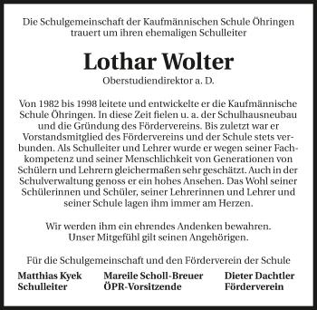 Traueranzeige von Lothar Wolter von GESAMT