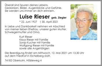 Traueranzeige von Luise Rieser von GESAMT