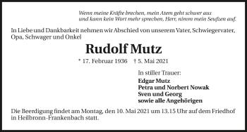 Traueranzeige von Rudolf Mutz von GESAMT