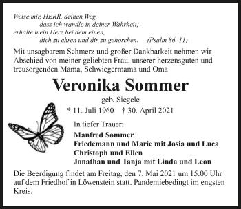 Traueranzeige von Veronika Sommer von GESAMT