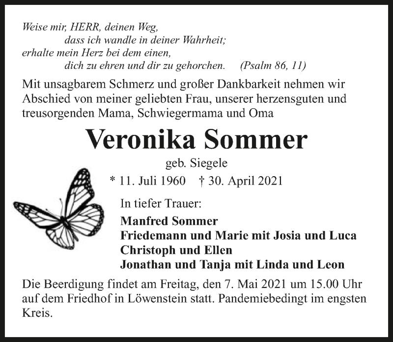 Traueranzeige für Veronika Sommer vom 04.05.2021 aus GESAMT