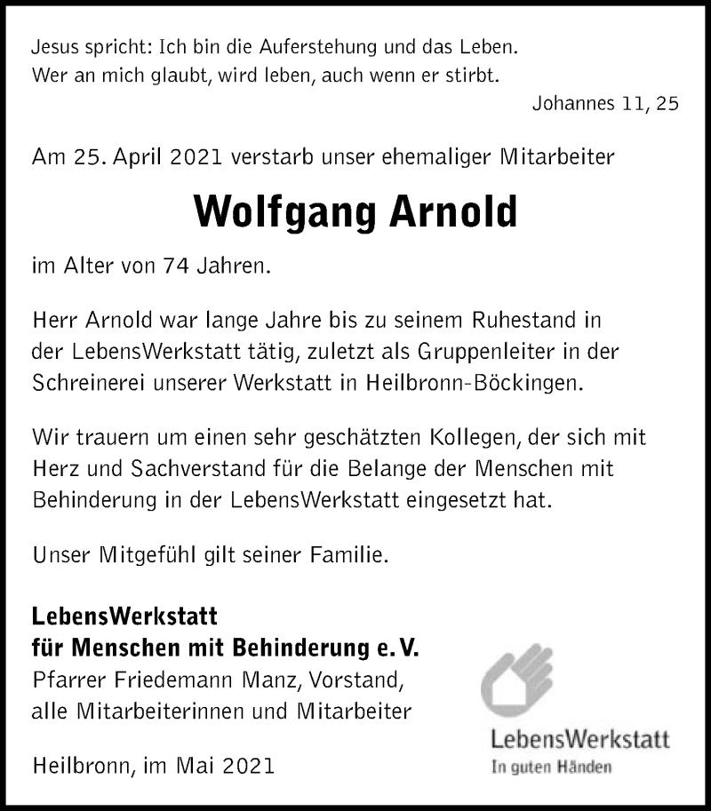 Traueranzeige für Wolfgang Arnold vom 05.05.2021 aus GESAMT