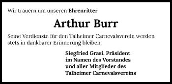 Traueranzeige von Arthur Burr von GESAMT