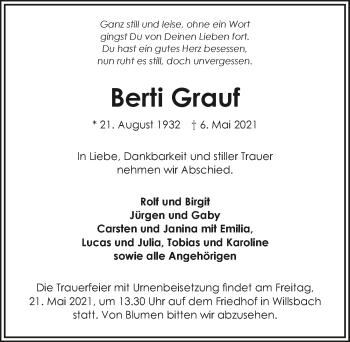 Traueranzeige von Berti Grauf von GESAMT