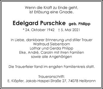 Traueranzeige von Edelgard Purschke von GESAMT