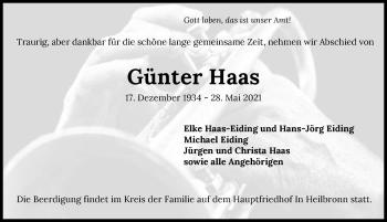 Traueranzeige von Günter Haas von GESAMT