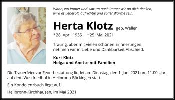 Traueranzeige von Herta Klotz von GESAMT