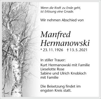 Traueranzeige von Manfred Hermanowski von GESAMT
