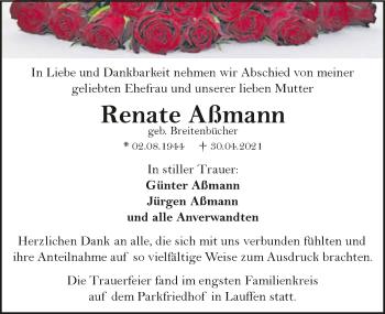 Traueranzeige von Renate Aßmann von GESAMT
