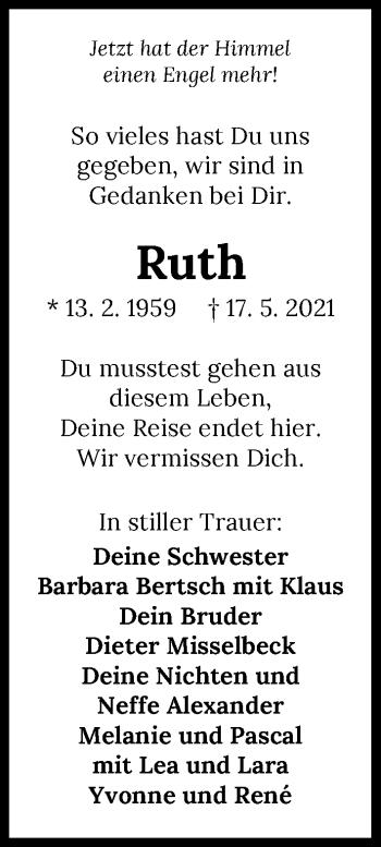 Traueranzeige von Ruth Pringsauf-Gast von GESAMT