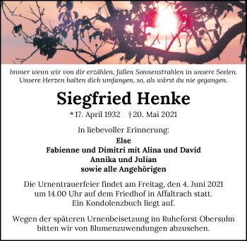 Traueranzeige von Siegfried Henke von GESAMT
