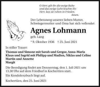 Traueranzeige von Agnes Lohmann von GESAMT