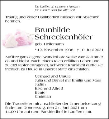 Traueranzeige von Brunhilde Schreckenhöfer von GESAMT