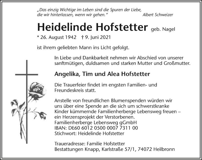 Traueranzeige für Heidelinde Hofstetter vom 10.06.2021 aus GESAMT