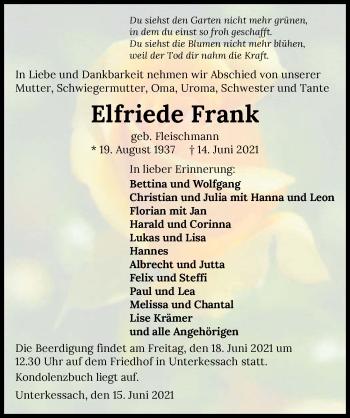 Traueranzeige von Elfriede Frank von GESAMT