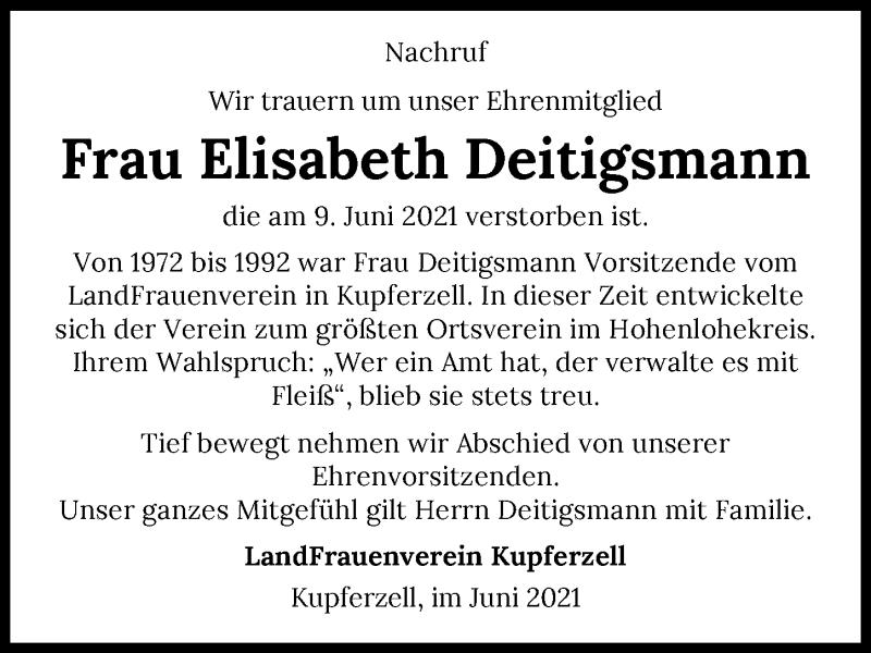 Traueranzeige für Elisabeth Deitigsmann vom 16.06.2021 aus GESAMT