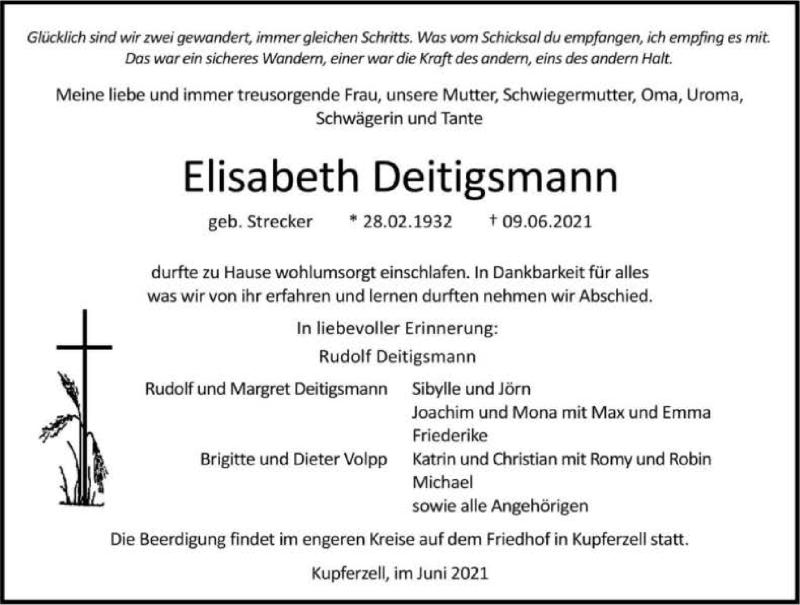 Traueranzeige für Elisabeth Deitigsmann vom 12.06.2021 aus GESAMT